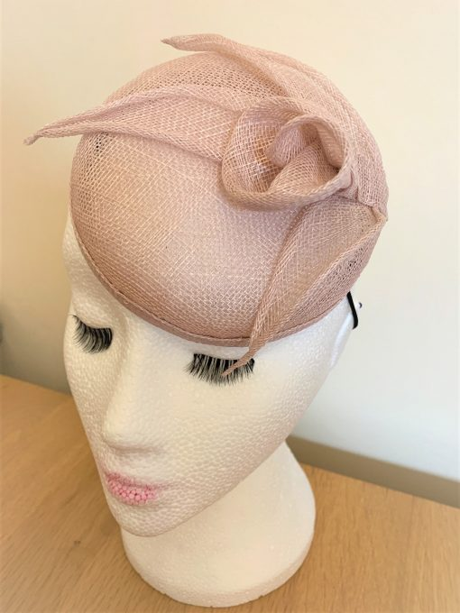 Amelia Dusty Pink Sinamay Button Fascinator by Oana Millinery