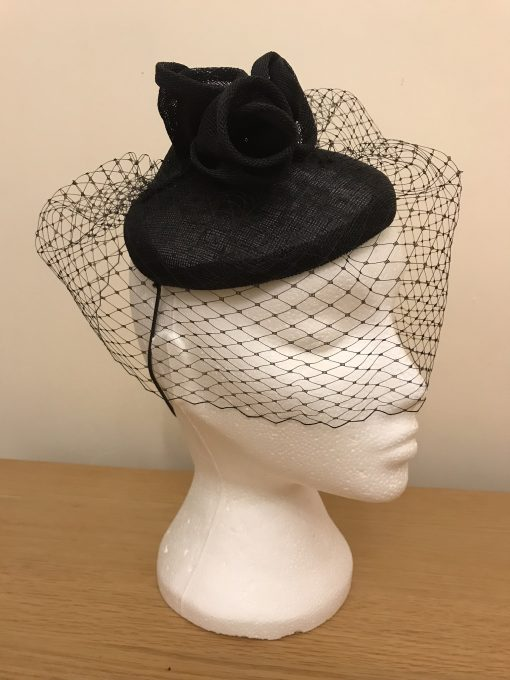 Chloe Black Button Fascinator with Roses and Veil by Oana Millinery