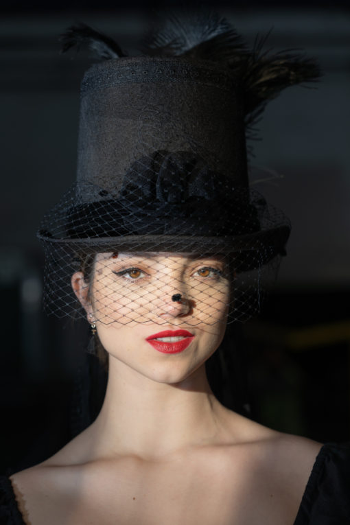 Top Hat With Veiling and Fetahers