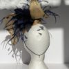 Ascot Sinamay and feathers Fascinator Gold with Navy Blue