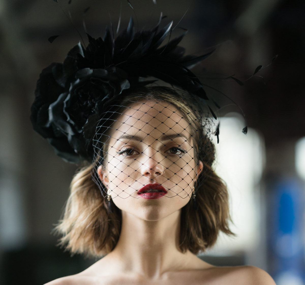 oana millinery fascinator black with feathers