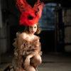 Red Poppy Sinamay Fascinator