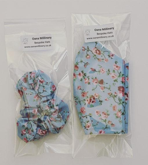 Blue Scrunchie And Face Mask Oana Millinery